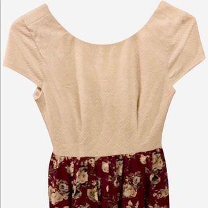 Speechless Size 5 Cream/Burgundy Floral Dress